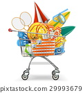 Vector Supermarket Cart with Beach Accessories 29993679