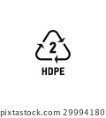 Plastic recycling symbol isolated on white 29994180