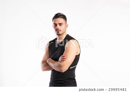 Young fitness man in black sleeveless shirt 29995481