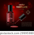 Round red glossy nail polish bottle with black cap 29995980