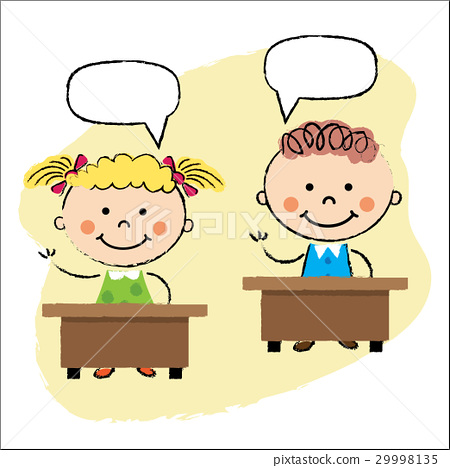 kids in classroom, sitting at the desks 29998135