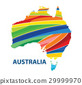 Colorful abstract Australia map vector 29999970