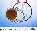 basketball field goal with the sky in background 30005863