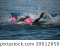 Group people in wetsuit swimming at triathlon 30012650