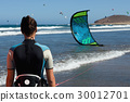 Kite-surfer ready for kite surfing  30012701