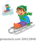 winter, boy, sled 30012848