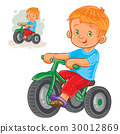 Vector illustration of small boy ride tricycle 30012869