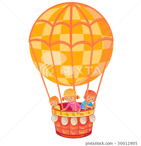 Little kids fly on the big air balloon 30012905