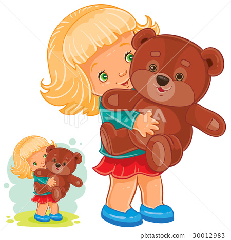 Small girl playing with Teddy bear 30012983
