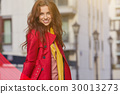 Spring woman in red coat 30013273