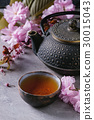 Teapot and cup of tea with blossom branch 30015043
