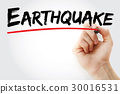 Hand writing Earthquake with marker 30016531
