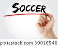 Hand writing Soccer with marker 30016540