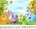 Cartoon animals, cheerful background 30019231