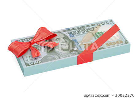 Dollar pack with red bow, gift concept 30022270