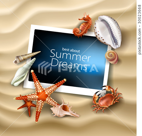 Vector photo frame lying on a background of sea 30023668