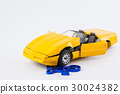 Car and bicycle traffic accident concept isolated 30024382