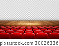 Rows of red cinema or theater seats  30026336