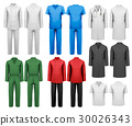 Set of white and colorful work clothes.  30026343