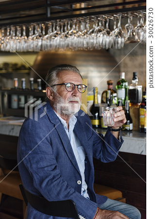 Senior Man Hangout Drinking Alcohol Night Club Concept 30026730
