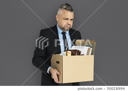 Caucasian Man Holding Box Sad 30028994