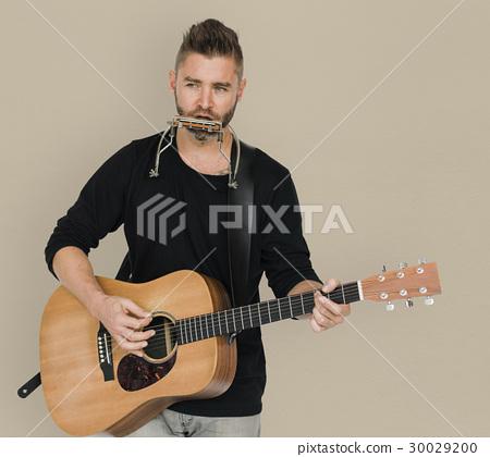 Men Musician Play Guitar Harmonica 30029200