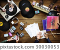 Group of DJ mixing the classic oldschool music vinyl record 30030053