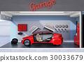 停留在一个淡色车库的一辆红色汽车的图象。车库概念显示 30033679