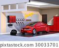 红色电动车停在车库的图像。 30033701