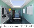 黑色电动车停在车库的正面图像。 30033703