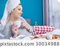 woman, bed, breakfast 30034988