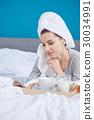 woman, bedroom, breakfast 30034991