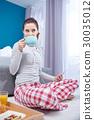 woman, bedroom, breakfast 30035012