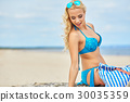 Outdoor fashion portrait of glamour lady enjoying her vacation 30035359