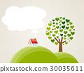 언덕에있는 굴뚝 지붕 주택과 하트 나무 30035611