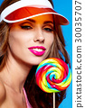 Bright makeup. Beauty Girl Portrait holding Colorful lollipop. B 30035707