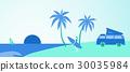 Summertime. Girl with surfboard on beach 30035984