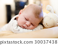 Portrait of cute adorable newborn baby child 30037438