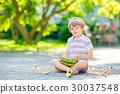 little preschool kid boy eating watermelon in 30037548