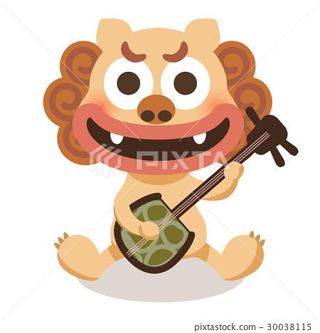 石狮子 三弦琴 漂亮 30038115