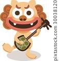 石狮子 三弦琴 漂亮 30038120