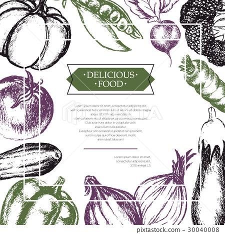 Vegetables - color hand drawn composite flyer. 30040008