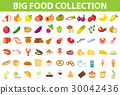 Big set icons food, flat style. Fruits, vegetables 30042436