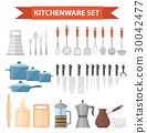 Cookware set icons, flat style. Kitchen utensils 30042477