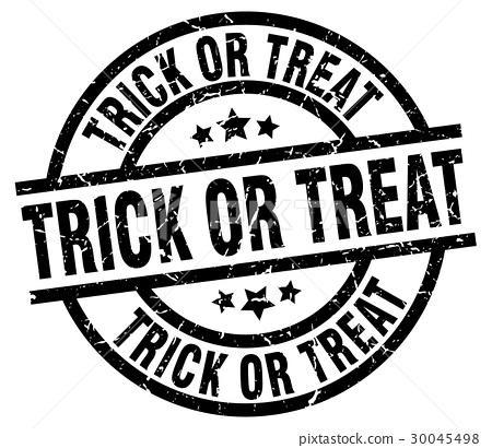 trick or treat round grunge black stamp 30045498