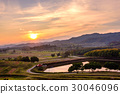 Colorful sunset sky with cloud over mountain 30046096