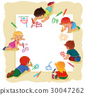 Happy children together draw on a large sheet of 30047262
