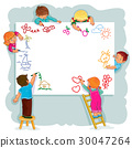 Happy children together draw on a large sheet of 30047264