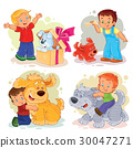 Clip art illustrations of little boys and their 30047271