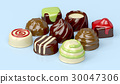 Variety of chocolate candies 30047306